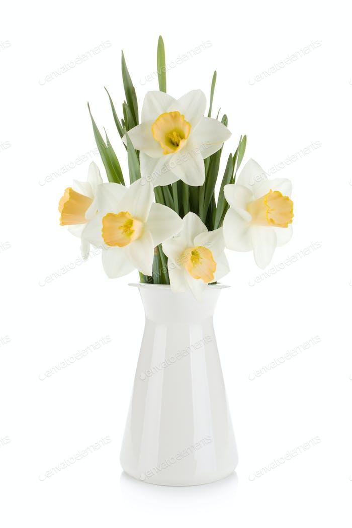 Blumenstrauß von weißen Narzissen im Blumentopf