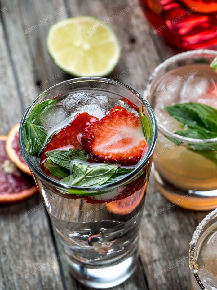 Strawberry and mint cocktail