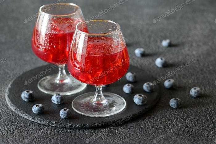 Glasses of blueberry juice