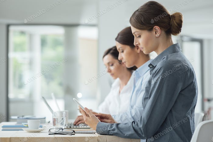 Efficient business women working together