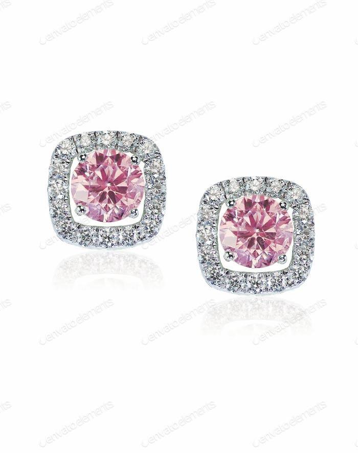 Rosa Diamant Ohrstecker Paar