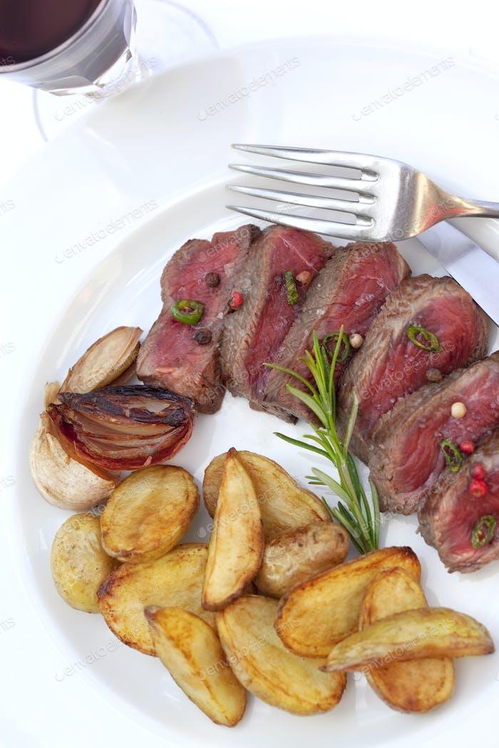 Beef steak and potatoes