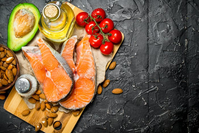 Healthy food. Salmon with organic food .