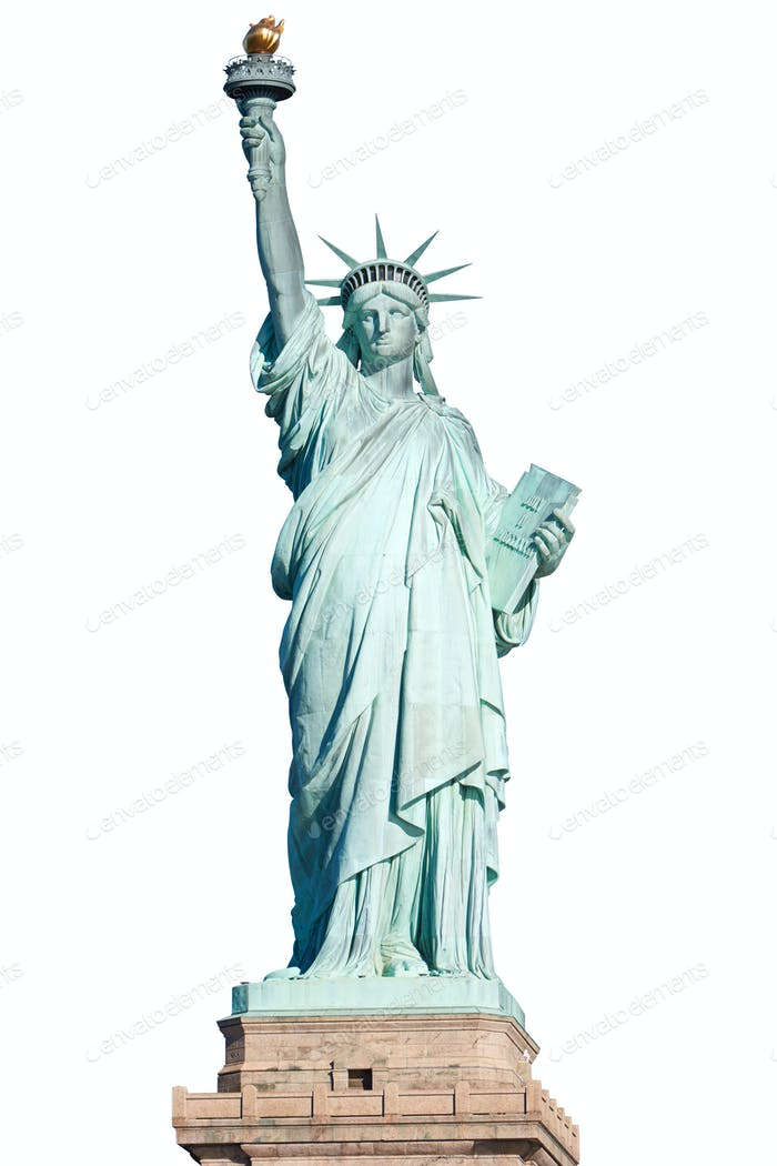 Statue of Liberty in New York isolated on white, clipping path