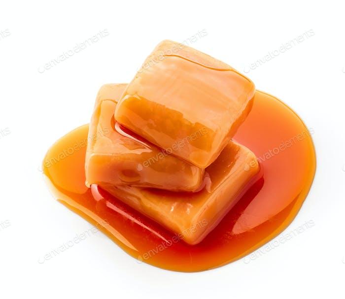 caramel candies and sauce