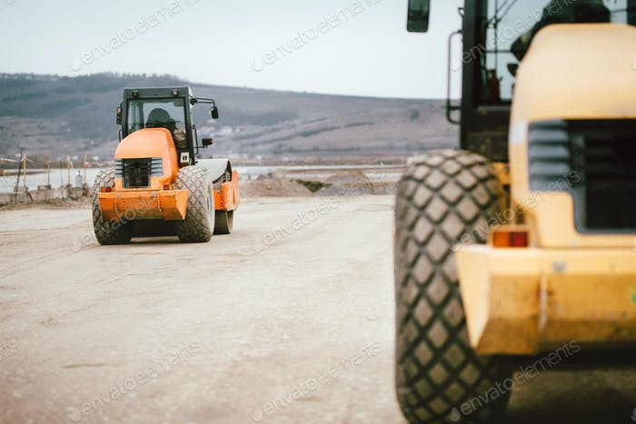 Vibratory Soil Compactor during road and highway construction.