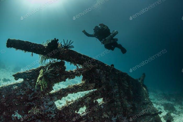 diver over a wreck