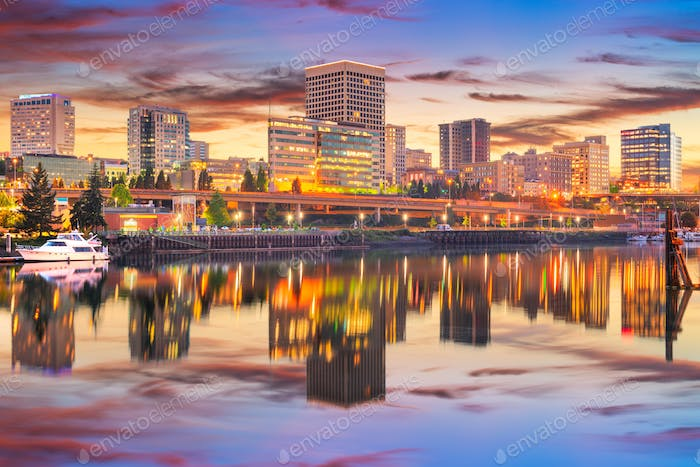 Tacoma, Washington, USA downtown skyline