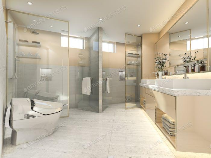 3d rendering cream modern vintage bathroom with luxury tile decor