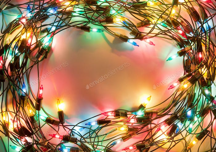 Frame of colorful Christmas lights