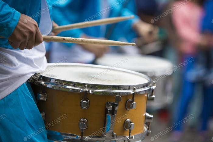 Drummer performing for the carnival opening of Salta, Argentina