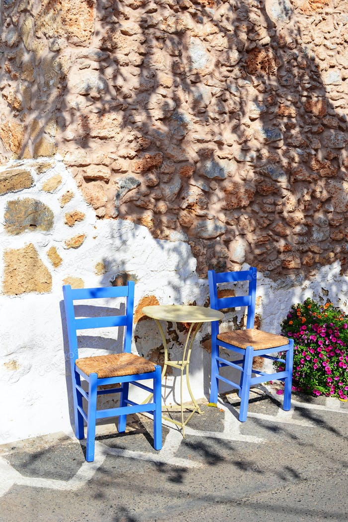 Street cafe in Malia old town, Greece.