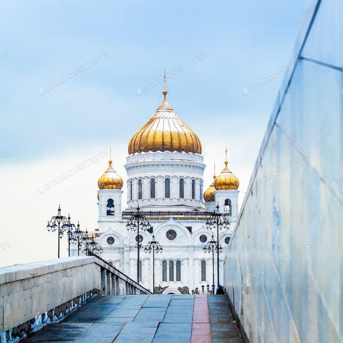 Blick auf die Moskauer Christ-Erlöser-Kathedrale in Moskau, Russland