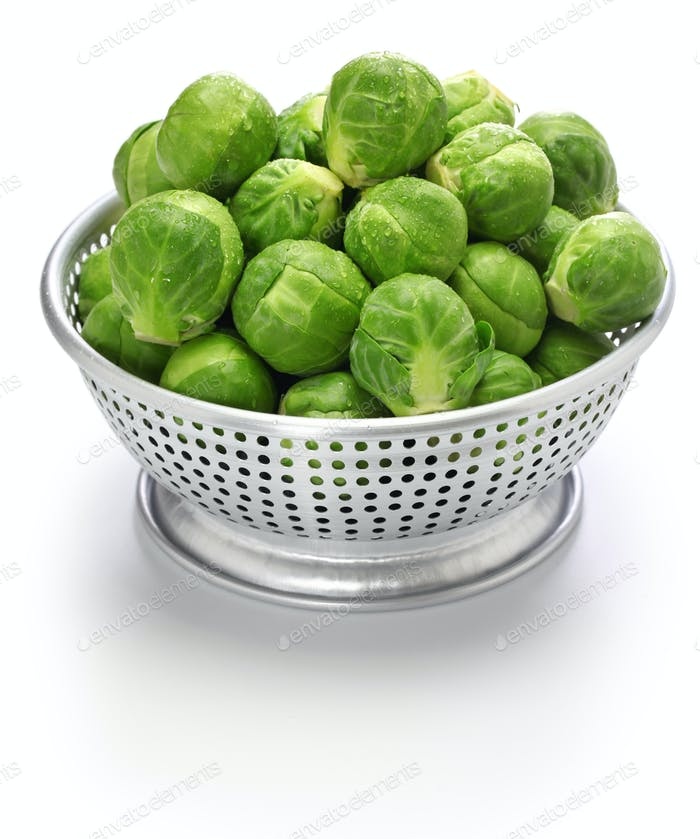 fresh brussels sprouts in colander isolated on white background