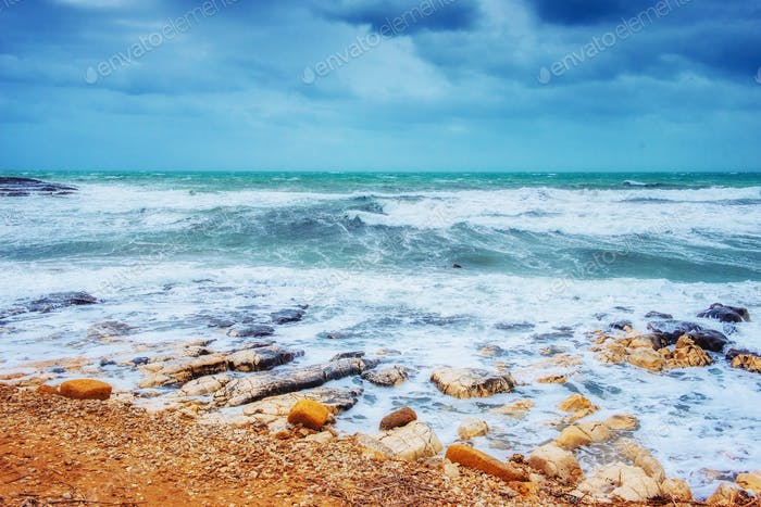 waves on the sea landscape  a background of blue sky