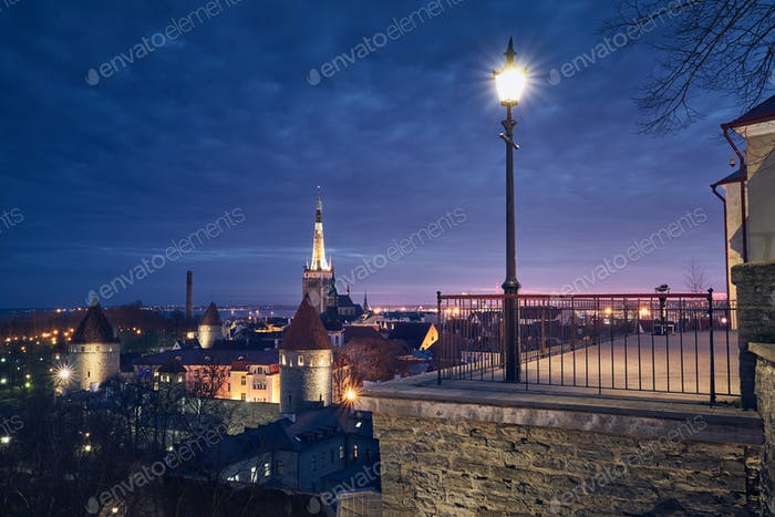 Tallinn at colorful sunrise