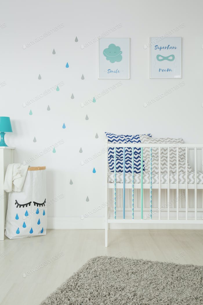 Simple, white baby bedroom