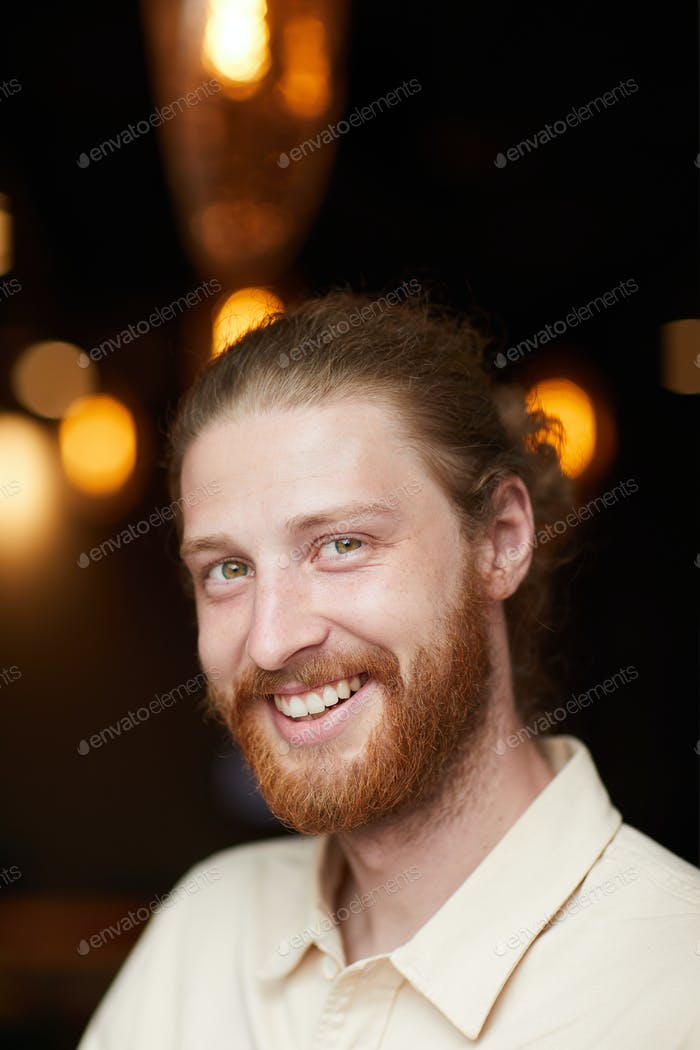 Happy red haired man