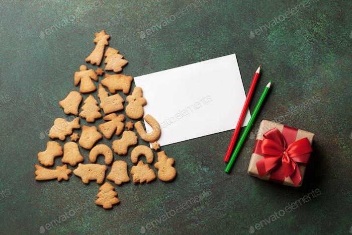 Lebkuchenkekse Weihnachtsbaum und Grußkarte