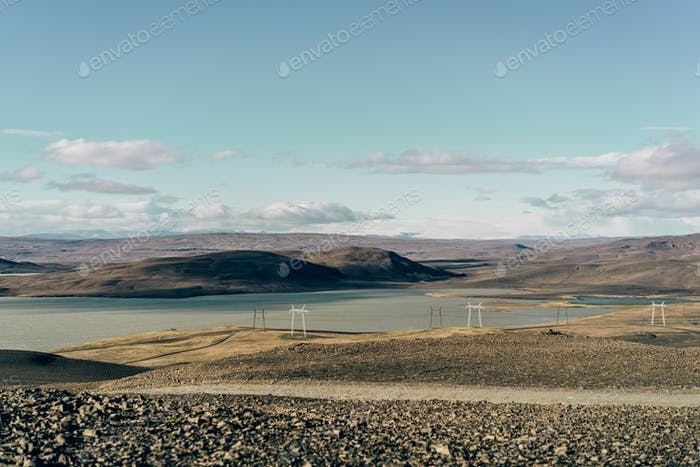 beautiful scenic landscape with electricity pylons in Iceland