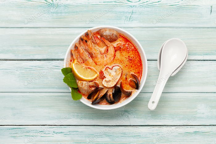 Traditional Thai soup Tom Yum kung