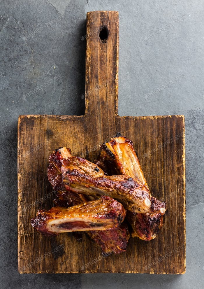 Pork ribs on cutting board