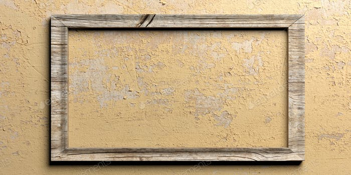 Wooden frame on painted wall. 3d illustration