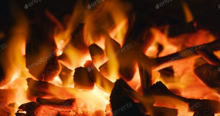 Charcoal fire flame