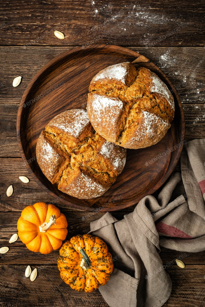 Pumpkin bread. Homemade wholemeal rye yeast-free bread with pumpkins