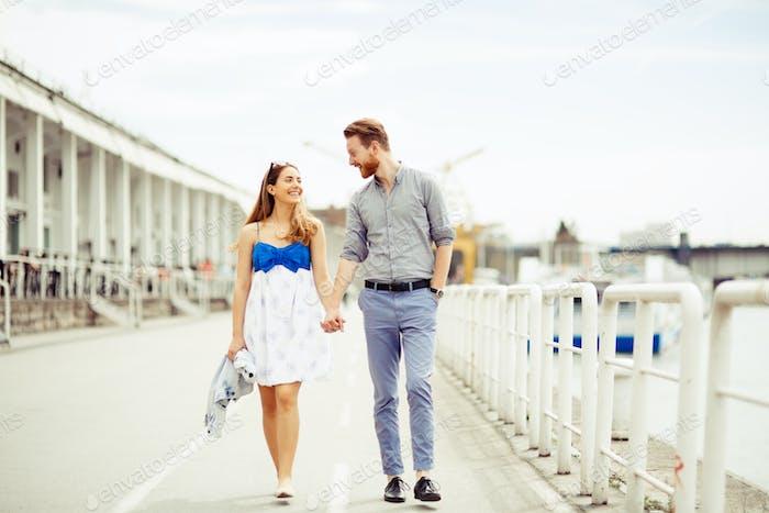 Couple enjoying time spent outdoors