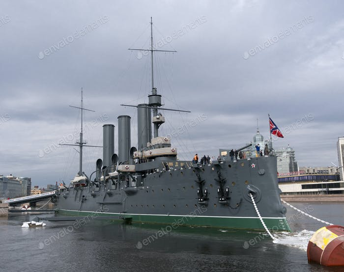 The ship is moored at Petrogradskaya embankment and is a Museum. On the nose set naval flag