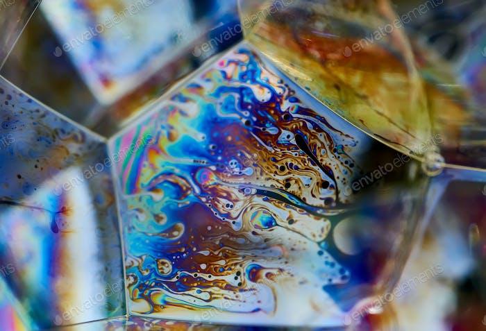 The illuminate rainbow on the bubble surface