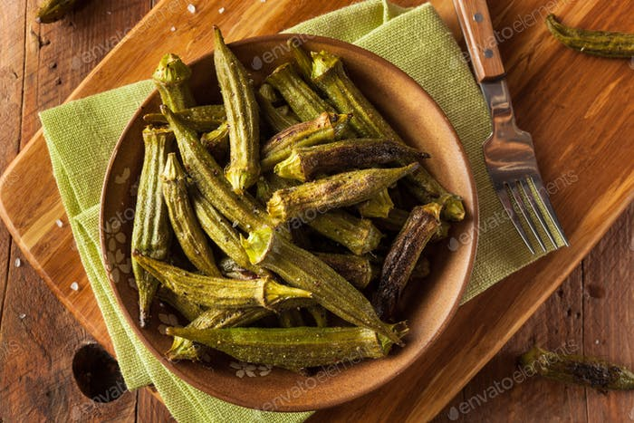 Green Organic Roasted Okra