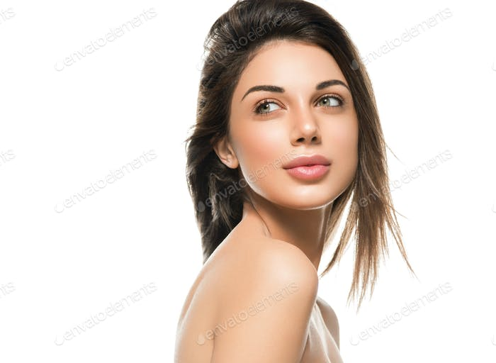 Brunette healthy skin girl woman isolated on white close up face beauty and shine
