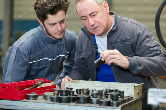 workmen looking through socket set