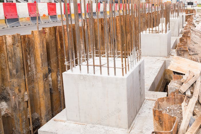 Foundation pillar and beam being constructed at construction site