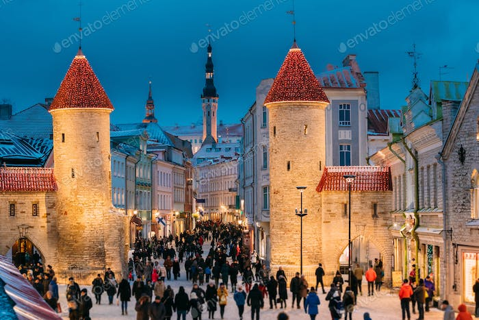 Tallinn, Estonia. People Walking Near Famous Landmark Viru Gate