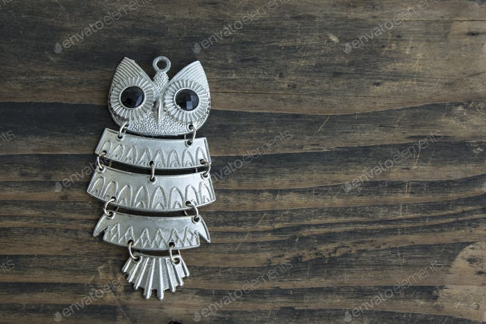 Halskette mit Anhänger Eule auf rustikalem Holzhintergrund