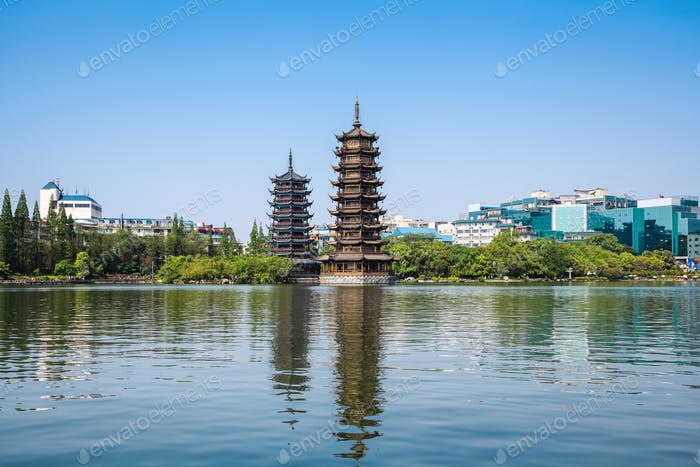 twin pagoda in guilin