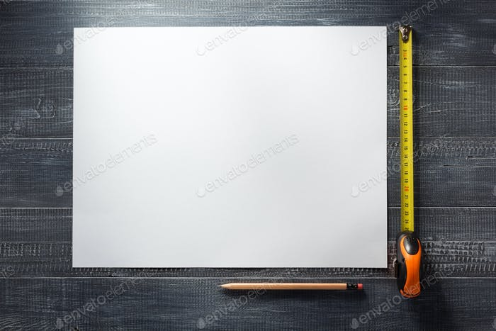 paper sheet at wooden  background