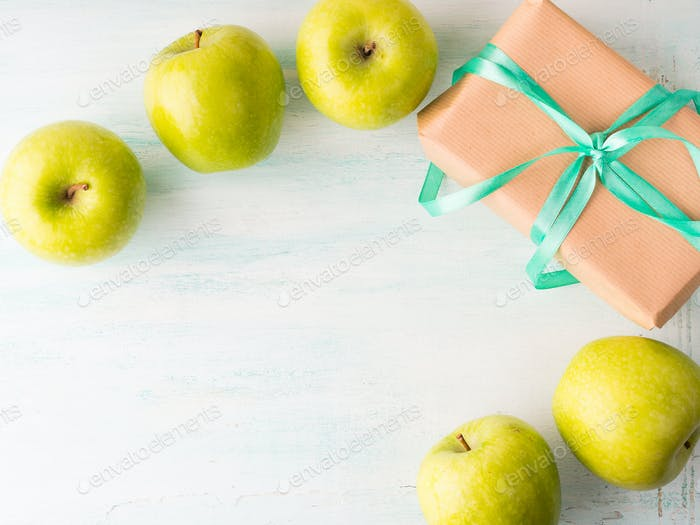 Give health eating healthy food green apples concept