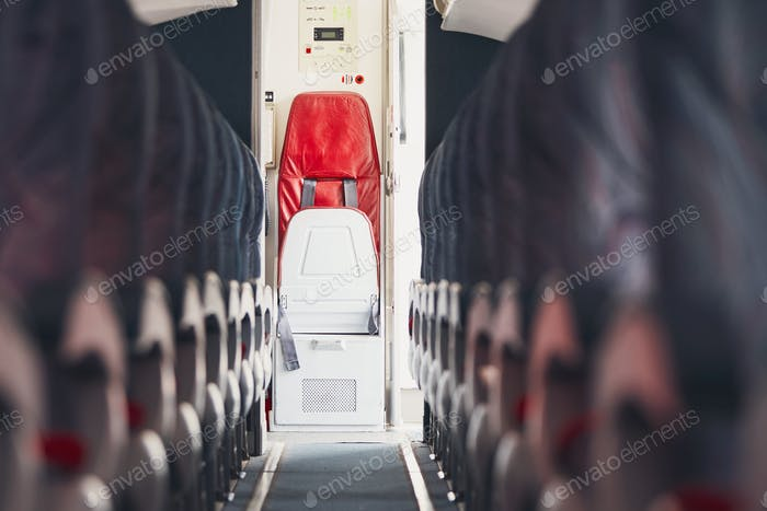 Aisle in the airplane
