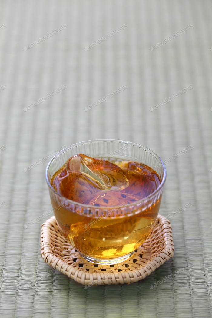 mugicha, japanese barley tea on tatami mat