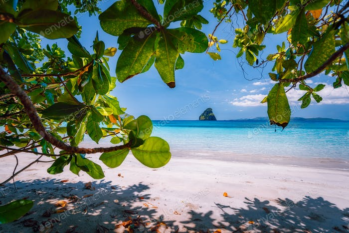 El Nido, Palawan, Philippines Journey. Tropical beach scenery with rocky islands in open ocean