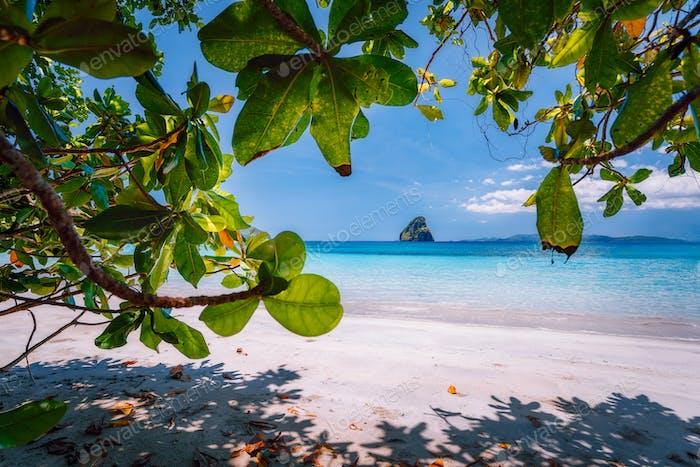 El Nido, Palawan, Philippines Journey. Tropical beach scenery with rocky islands in open ocean