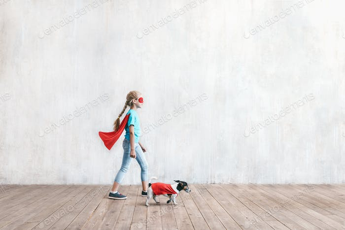 Super girl and a dog