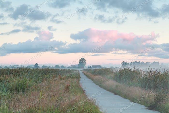 biking road in Dutch countryside at sunrise