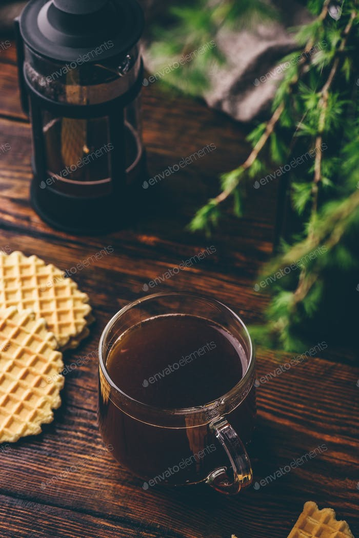 Cup of coffee with waffles