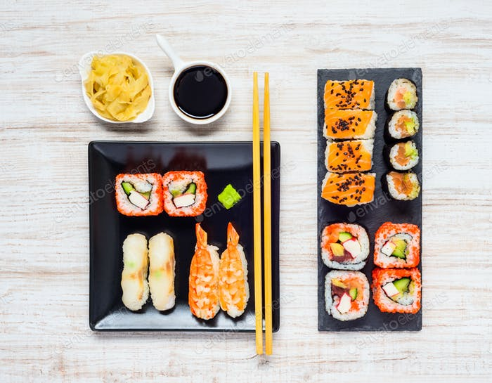 Different Sushi Types with Soy Sauce and Gari