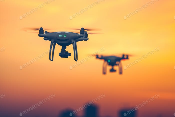 Close up photo of two Professional Remote Control Air Drones